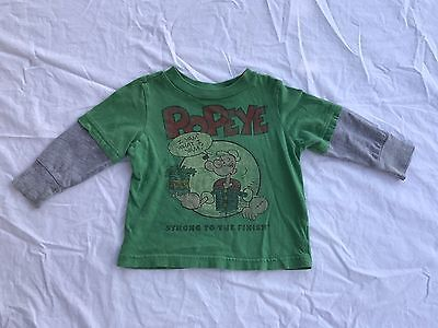 Old Navy Collectabilitees Popeye The Sailor Man Spinach Green Shirt Top 12-18M