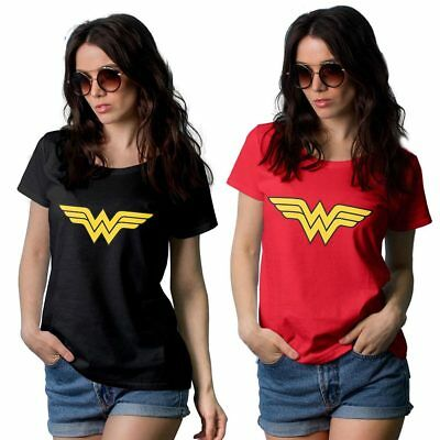 100% Pure Cotton Hot Wonder Woman Red and Black Women's T-Shirt