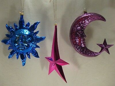 Metallic Blue Sun Purple Moon Pink Star Celestial Christmas Tree Ornament