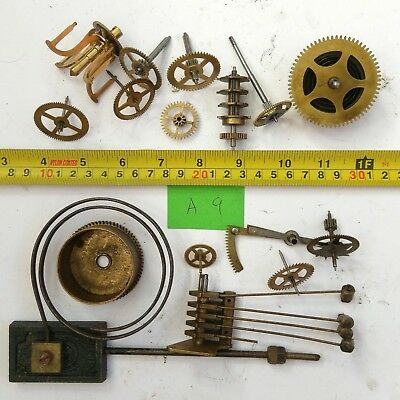Job Lot Vintage Brass Clock Parts Cogs Gears etc, Steampunk Craft Spares - 658g