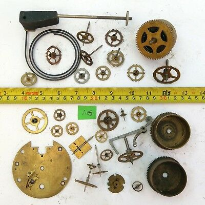 Job Lot Vintage Brass Clock Parts Cogs Gears etc, Steampunk Craft Spares - 684g