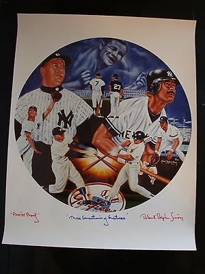 Ruth, Mantle, Mattingly Yankees Litho Signed by The Late Robert Stephen Simon