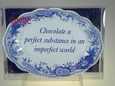 Spode Blue Room Oval Fluted Tray(Chocolate a Perfect Substance) NEW IN BOX
