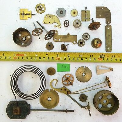 Job Lot Vintage Brass Clock Parts Cogs Gears etc, Steampunk Craft Spares - 434g