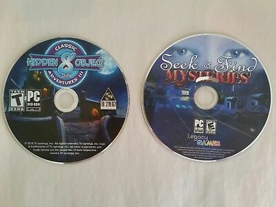 Lot of 2 PC Games - Seek & Find Mysteries & Classic Adventures 3 Hidden Object
