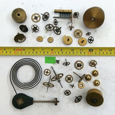 Job Lot Vintage Brass Clock Parts Cogs Gears etc, Steampunk Craft Spares - 720g