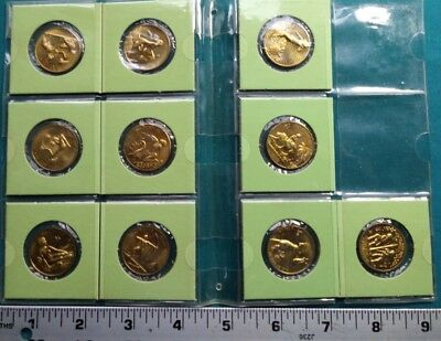Set of 10 Zodiac gold overlay Medal Coins #437