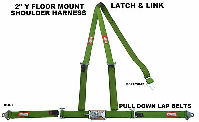 "Off Road 2"" Latch & Link Y Floor Mount Harness. 3 Point Buggy Belt Lime Green"