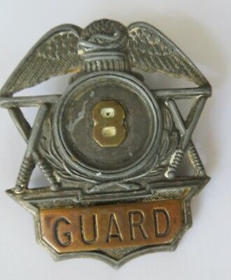 Antique Metal Guard Badge #8 Estate Find