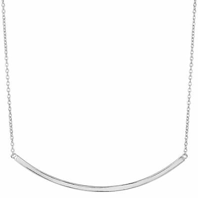 Argent Sterling Latéral Courbe Barre Collier, 45.7cm