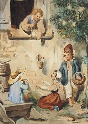 Antique French Gouache, ChildrenPlaying with a Kitten