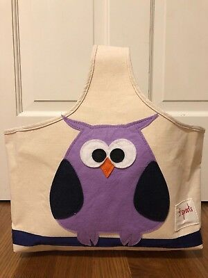 3 Sprouts Owl Canvas Storage Bag Basket Toy Organizer Clean Cute