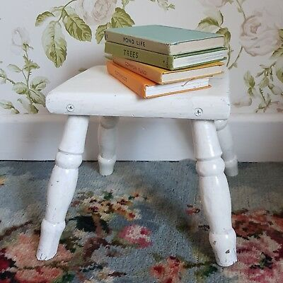 Vintage Wooden Stool - Chippy Paint - Antique Milking Seat - Pine Farmhouse Step