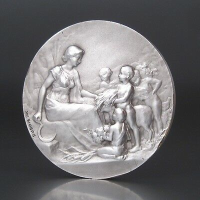 AntiqueFrench Silvered BronzeMedal Bas-Relief, Allegory of Agriculture,Signed