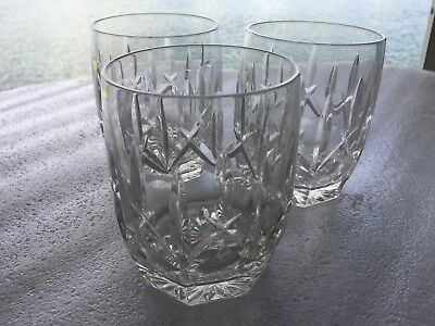 """WATERFORD Signed Crystal ☆ 4 1/8"""" WESTHAMPTON Double Old Fashioned ☆ Set of 3"""