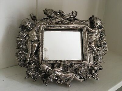 "Vintage Sterling Silver Easel Mirror Decorated with Cherubs (size  7""x 6"" )"