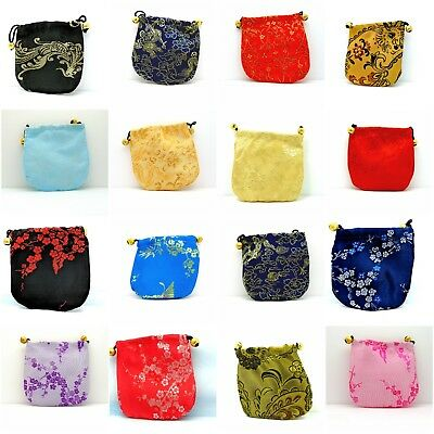 Jewellery Pouch Purse Bag Chinese Pattern Handmade Satin Silk Valentine Gift New