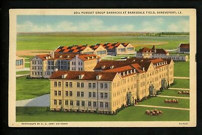 Military Base postcard Barksdale Field barracks Shreveport, Louisiana LA linen