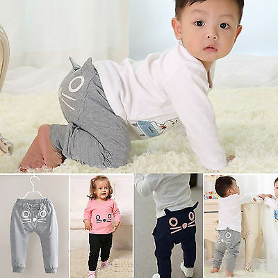 Toddler Baby Boys Girls Cute Cat Casual Harem Pants Long Trousers Bottom Legging