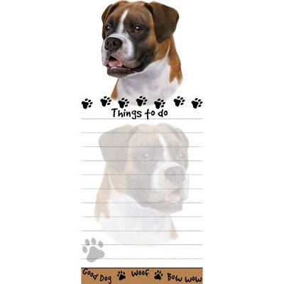 Boxer Uncropped Magnetic Sticky Dog Breed Stationery Notepad