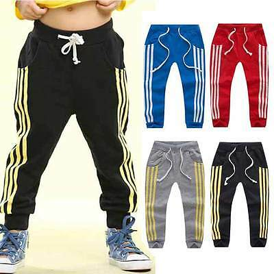 Boys Kids Casual Trouser Pants Drawstring Stripe Loose Jogging Sports Sweatpants