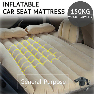 Inflatable Car Back Seat Mattress SUV Travel Camping Rest Sleep Air Bed +Pillows