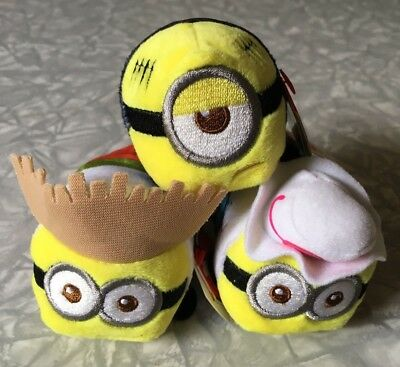 Lot of 3 Teeny TY's Despicable Me 3 Minion Beanies Tourist Dave Jerry Prison Mel