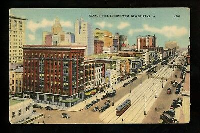 Louisiana LA postcard New Orleans, Canal Street looking west linen Colourpicture