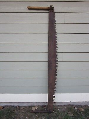 "Old Vtg Antique 2 Man Wood Handle Cross Cut 66"" Blade Rustic Logging Saw Tool"