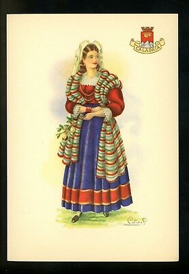 Costumes / Clothing postcard Calabria Italy woman in dress Artist Signed Carinia