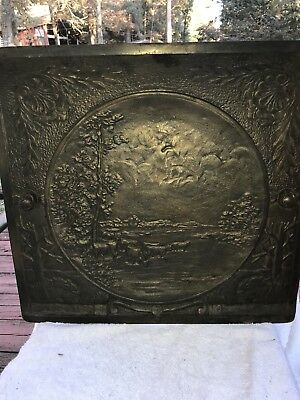 ANTIQUE CAST IRON SUMMER FIREPLACE COVER Cattle Grazing (Bronze-Copper)
