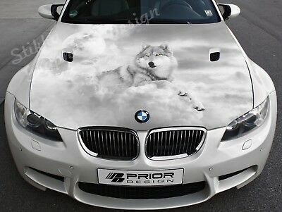 Vinyl Car Hood Wrap Full Color Graphics Decal White Wolf Sticker