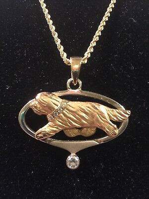 14K-9 Bearded Collie Pendant BCOL409 with .25ct round diamond drop accent