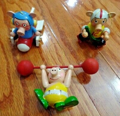 3 Vtg Wood Pig Sports Ornaments Airplane, Hockey, Barbells Weights GUC