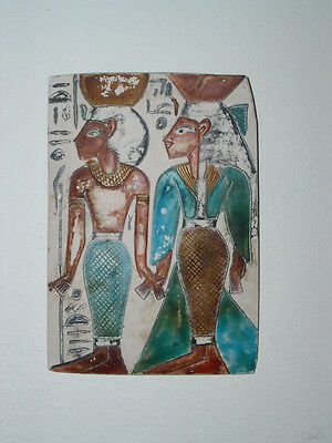 Decorative wall hanging plaque white blue brown ancient Egyptian design