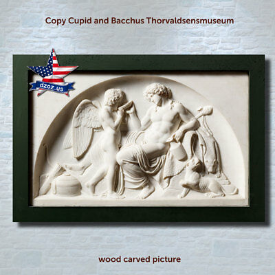 DZOZ❤️Cupid and Bacchus❤️thorvaldsens museum✅Wood carved picture art✅icon decor