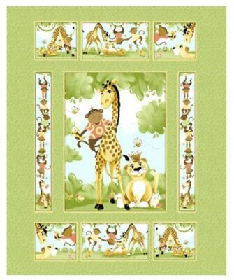 Susybee Buddies Quilt Panel * Cute * New * Free Post * 🐵🦁🦒