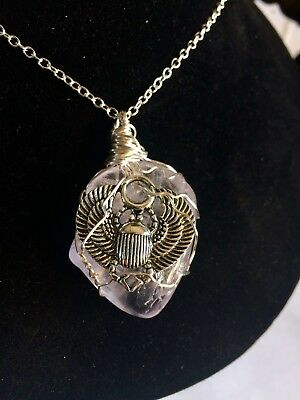 Egyptian Scarab Beetle On Light Purple Amethyst Wire Wrapped Stone