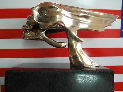West Coast Choppers Stil Flying Totenkopf, Bronze, Hood Ornament, Paperwight