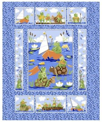 Susybee * Paul & Sheldon Paddling Quilt Panel  * Free Post * 🐸🐢 *New*