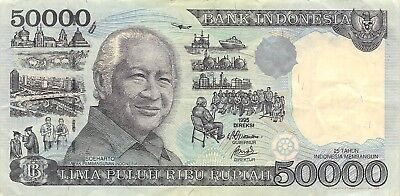Indonesia 50,000 Rupiah 1998 P 136d Series MPD Circulated Banknote SP518