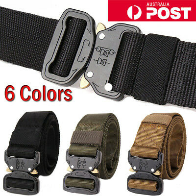 Mens Canvas Outdoor Tactical Belt Heavy Duty Army Waist Web Strap Waistband Hot