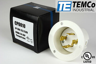 TEMCo NEMA L14-30 Male Flanged Inlet 30A 125/250V Locking UL Listed Generator