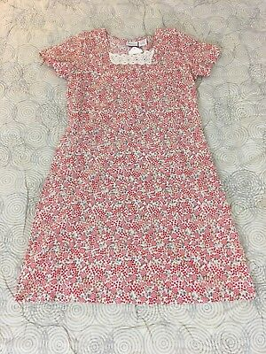 The Vermont Country Store Red Indian Print Vintage Style Cotton Dress Sz S NEW