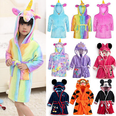 Kids Boy Girl Warm Hooded Bath Robe Mickey Unicorn Nightwear Sleepwear Pj's Gown