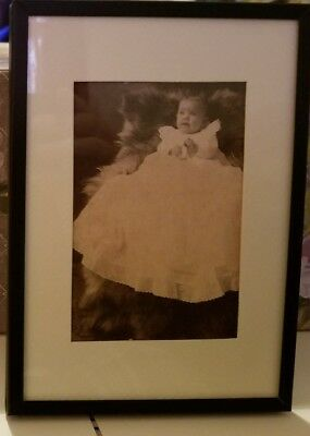 Antique Victorian Baby In Christening Gown Framed Picture Winslow Indiana