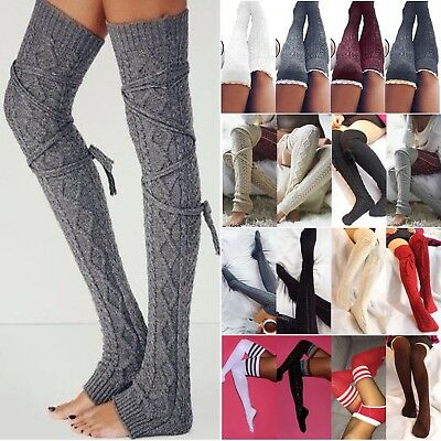 Women Cable Knit Long Boot Socks Over Knee Thigh High Warmer Stocking Legging US