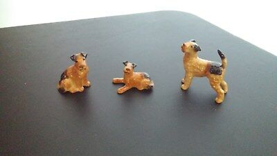 Bone China Delta Airedale Terrier Dog Figurine Lot of 3 Japan