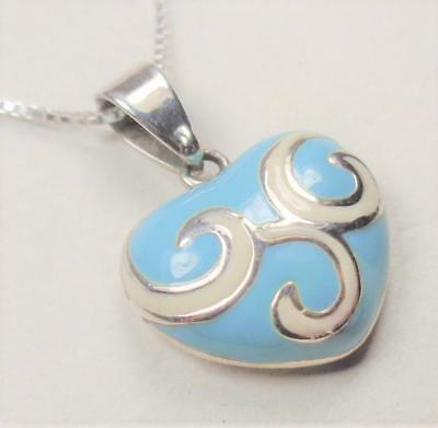 Sterling Silver Heart Light Sky Blue Enamel Painted Lovers Pendant Necklace