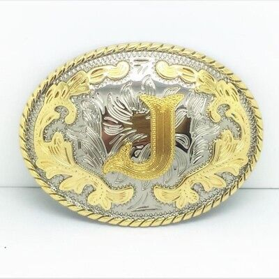 """Initial """"J"""" Letter Oval Gold & Silver Rodeo Western Cowboy Metal Belt Buckle"""